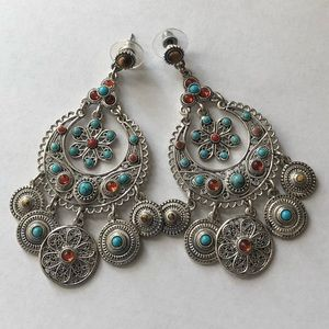 Graziano Chandelier Earrings Simulated Stones 3""